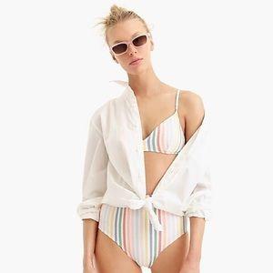 NWT J. Crew Rainbow Multi Color Striped Bikini Top